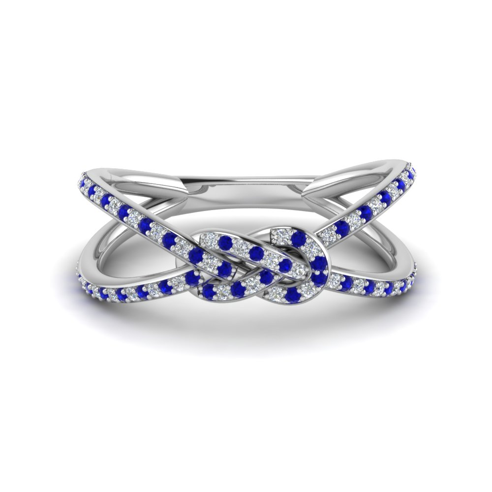 love knot diamond double split band with blue sapphire in 14K white gold FD123097RORGSABL NL WG