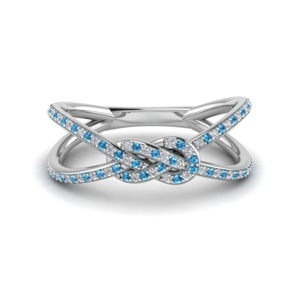 Blue topaz wedding bands for women