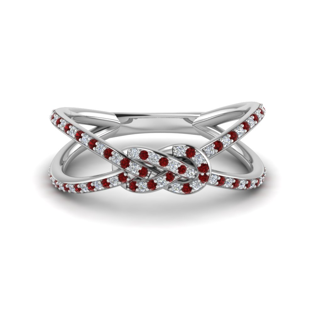 White Gold Knot Ruby Wedding Band