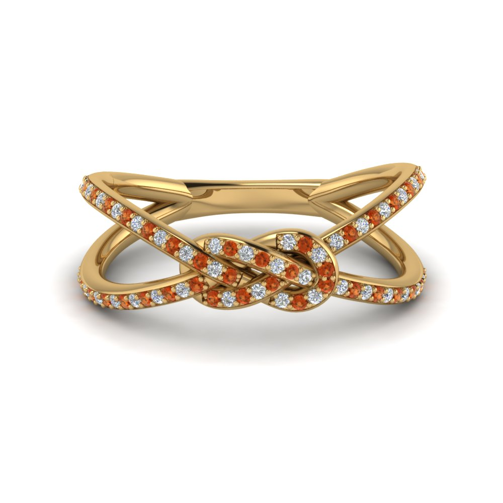 love knot diamond promise ring with orange sapphire in FD123097RORGSAOR NL YG