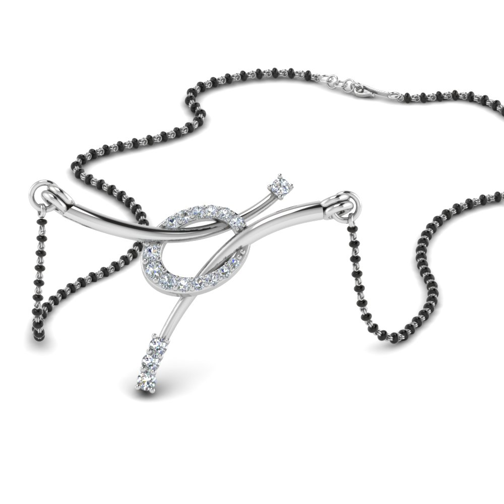 14K White Gold Love Knot Mangalsutra