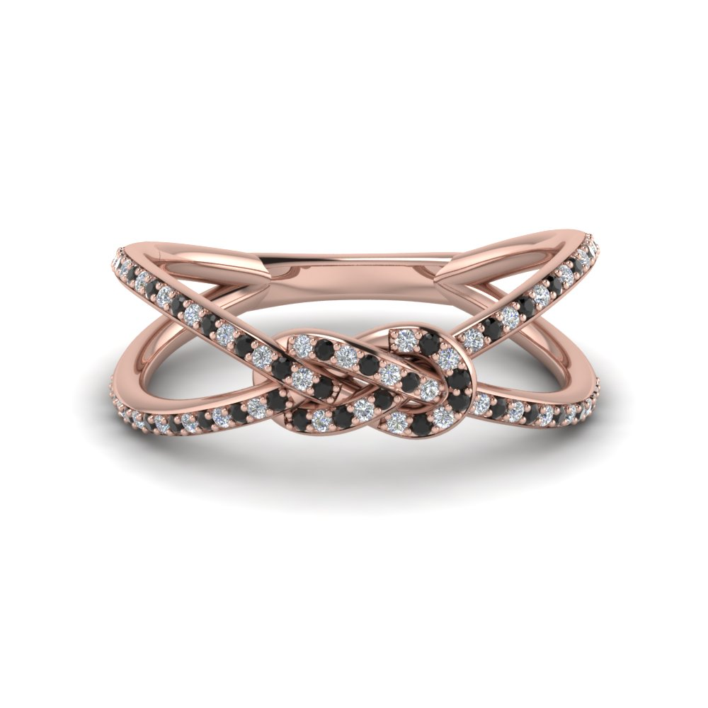 love knot promise ring with black diamond in FD123097RORGBLACK NL RG