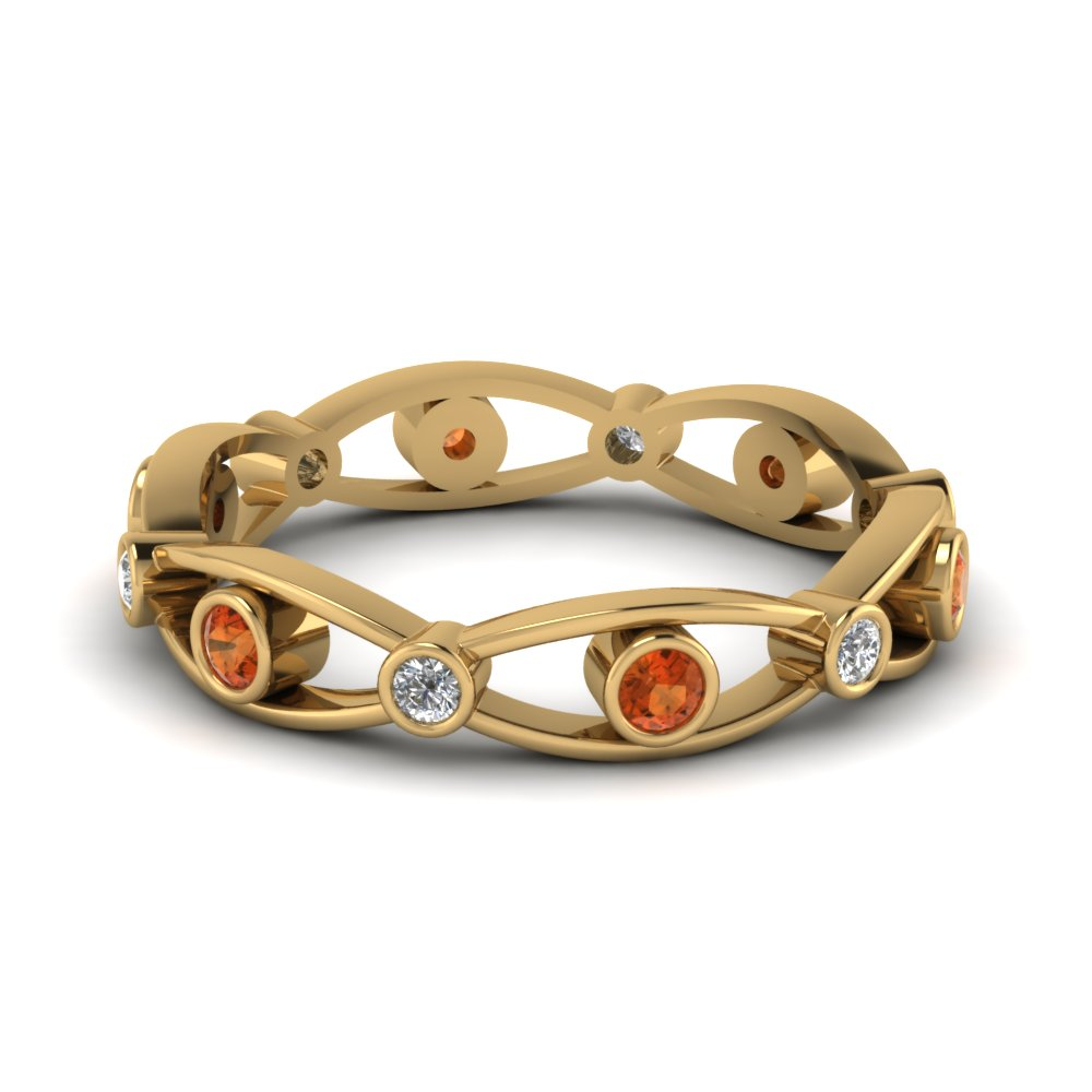 Orange Sapphire Eye Design Band