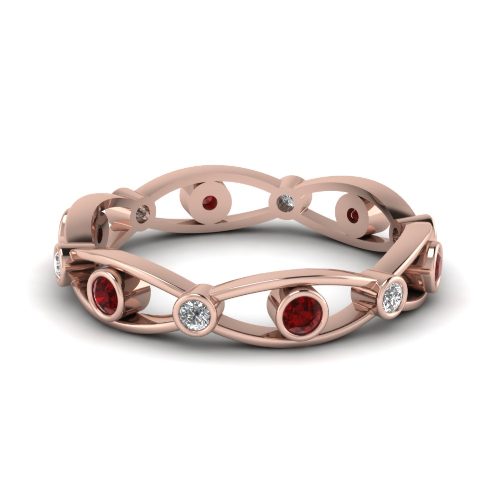 Accent Ruby Bezel Set Band