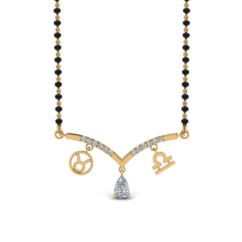Zodiac Sign Diamond Pendant Mangalsutra
