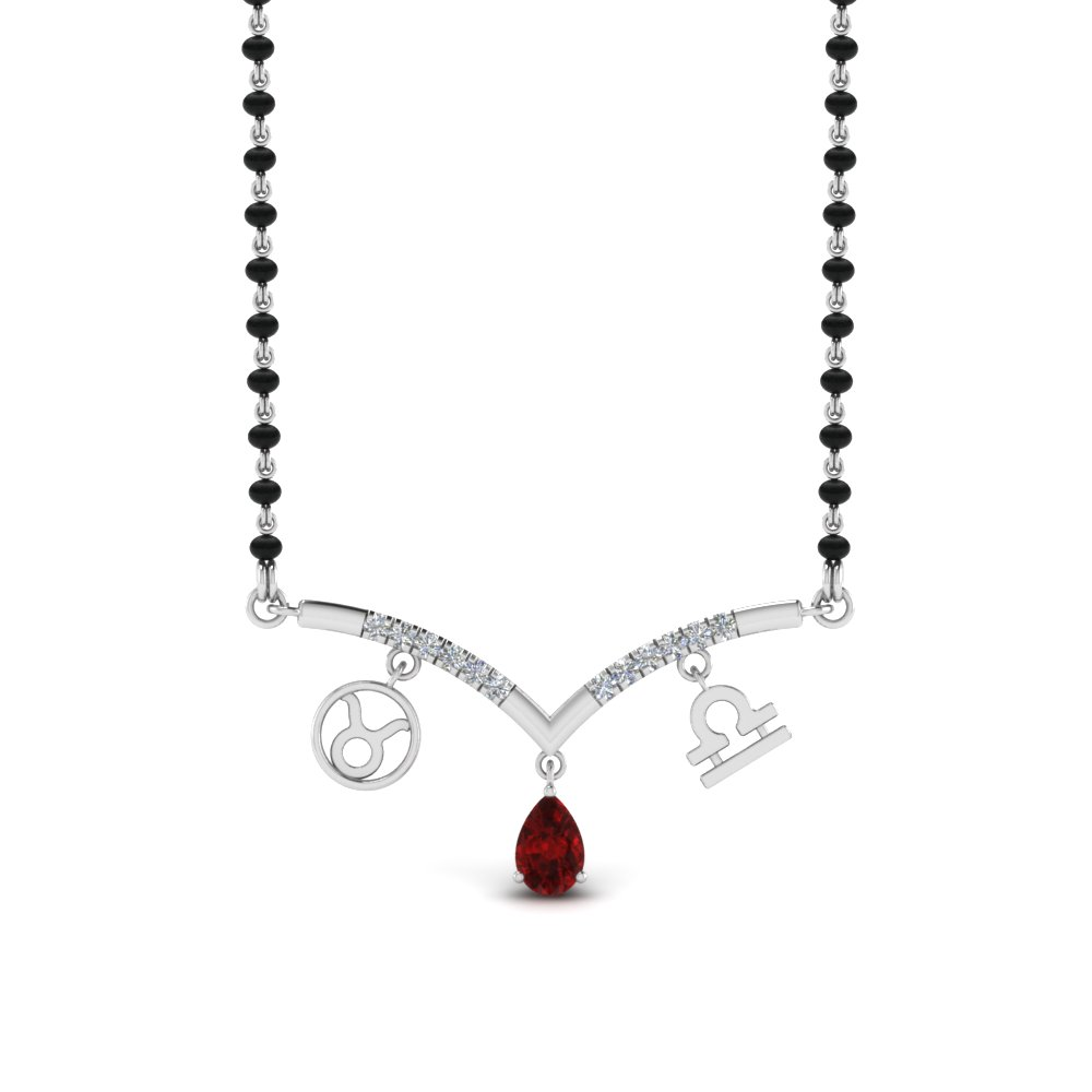 Mangalsutra Ruby Pendant With Beads
