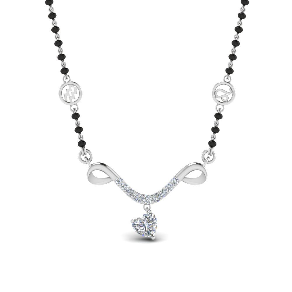 Diamond Mangalsutra With Curved Design