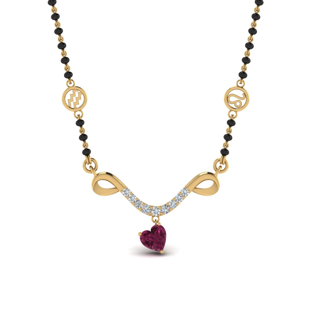 Pink Sapphire Mangalsutra In 14K Yellow Gold