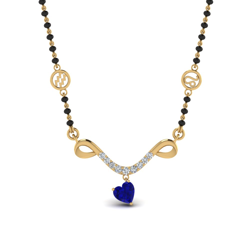 Sapphire Mangalsutra With Black Beads