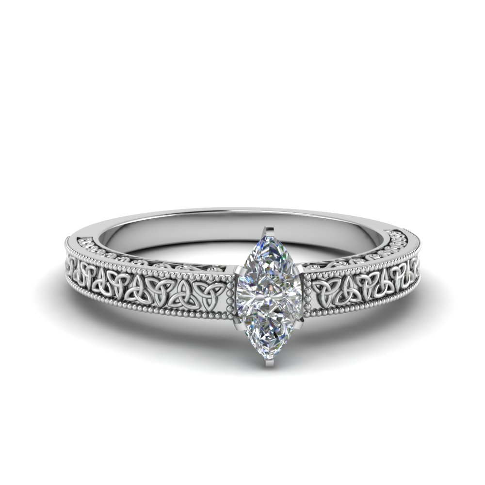 celtic engraved marquise solitaire engagement ring in FD8544MQR NL WG