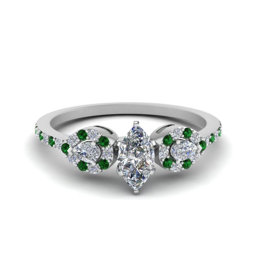 Marquise 3 Stone Diamond Halo Engagement Ring With Emerald In 950 Platinum