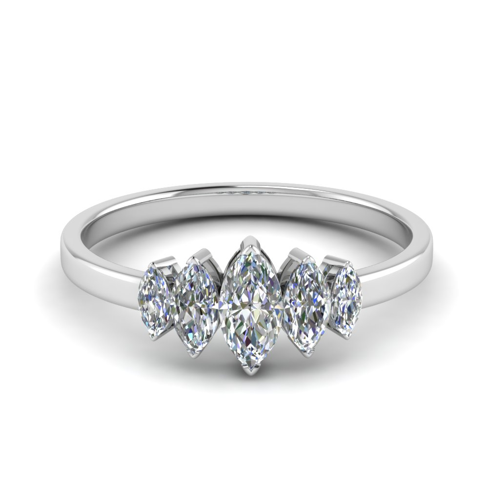 Half Carat Marquise 5 Stone Wedding Ring