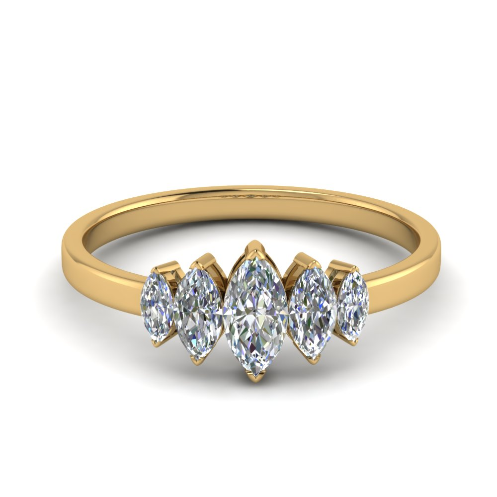 14K Yellow Gold Marquise Cut Ring