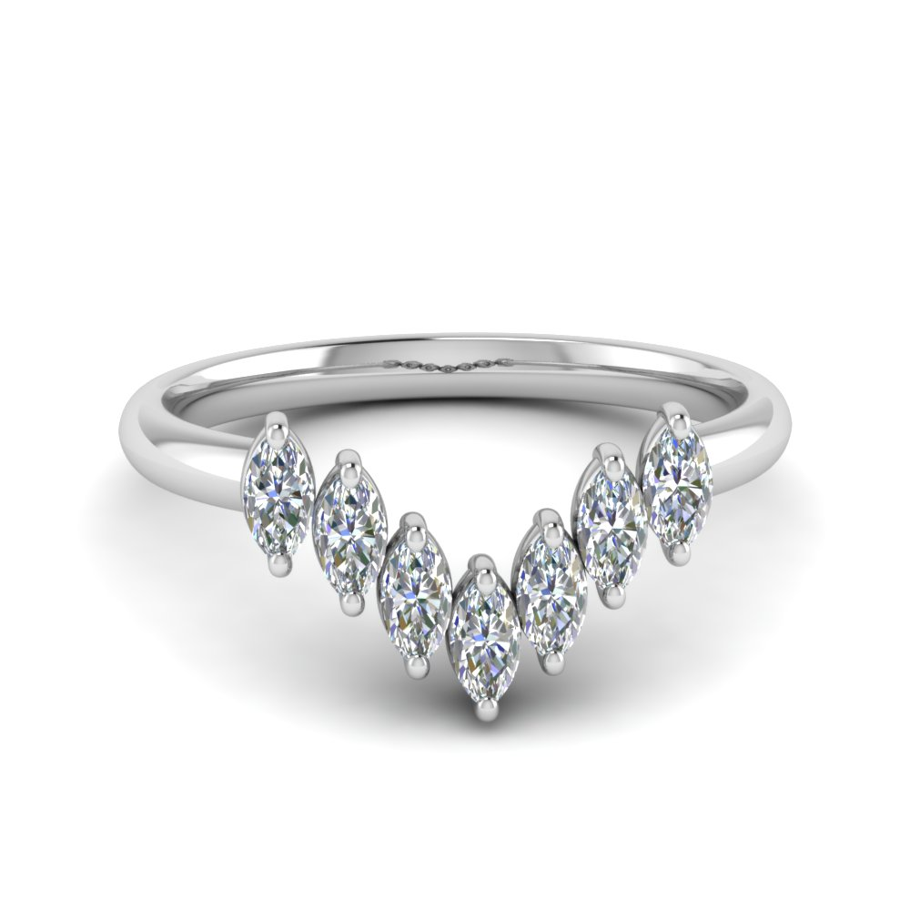 Marquise Diamond Curve Band