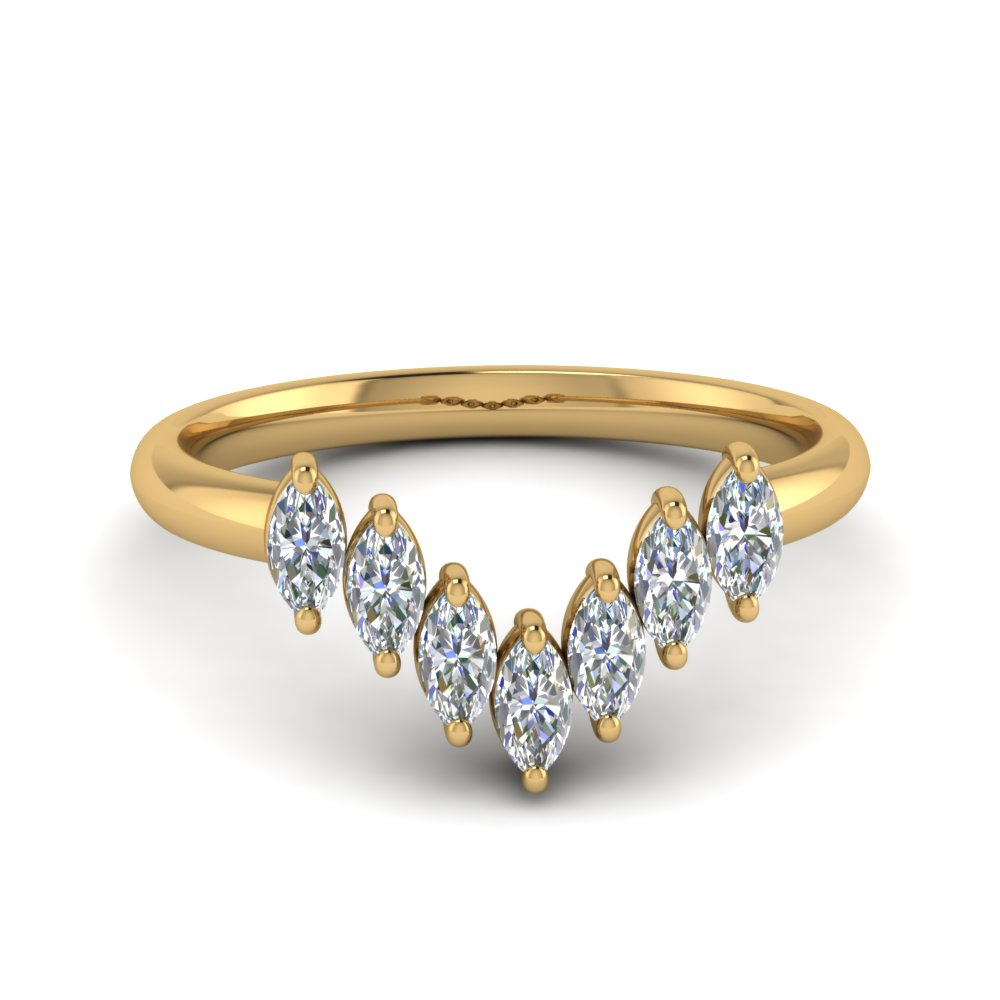 Marquise Cut 7 Stone Curved Band