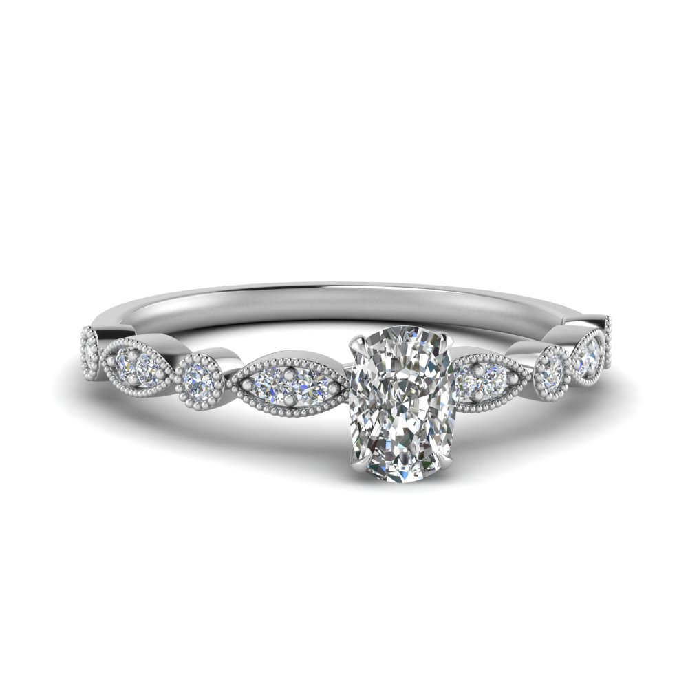 marquise and dot milgrain cushion moissanite engagement ring in FD8641CUR NL WG