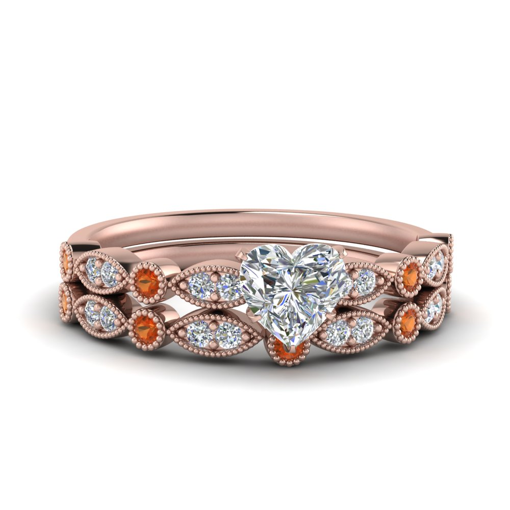marquise-and-dot-milgrain-heart-bridal-ring-set-with-orange-sapphire-in-FD8641HTGSAOR-NL-RG