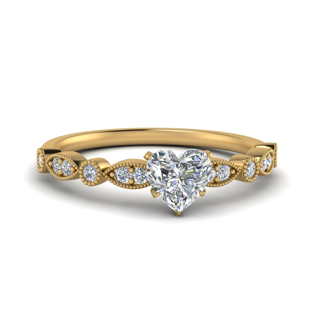 marquise and dot milgrain heart engagement ring in FD8641HTR NL YG