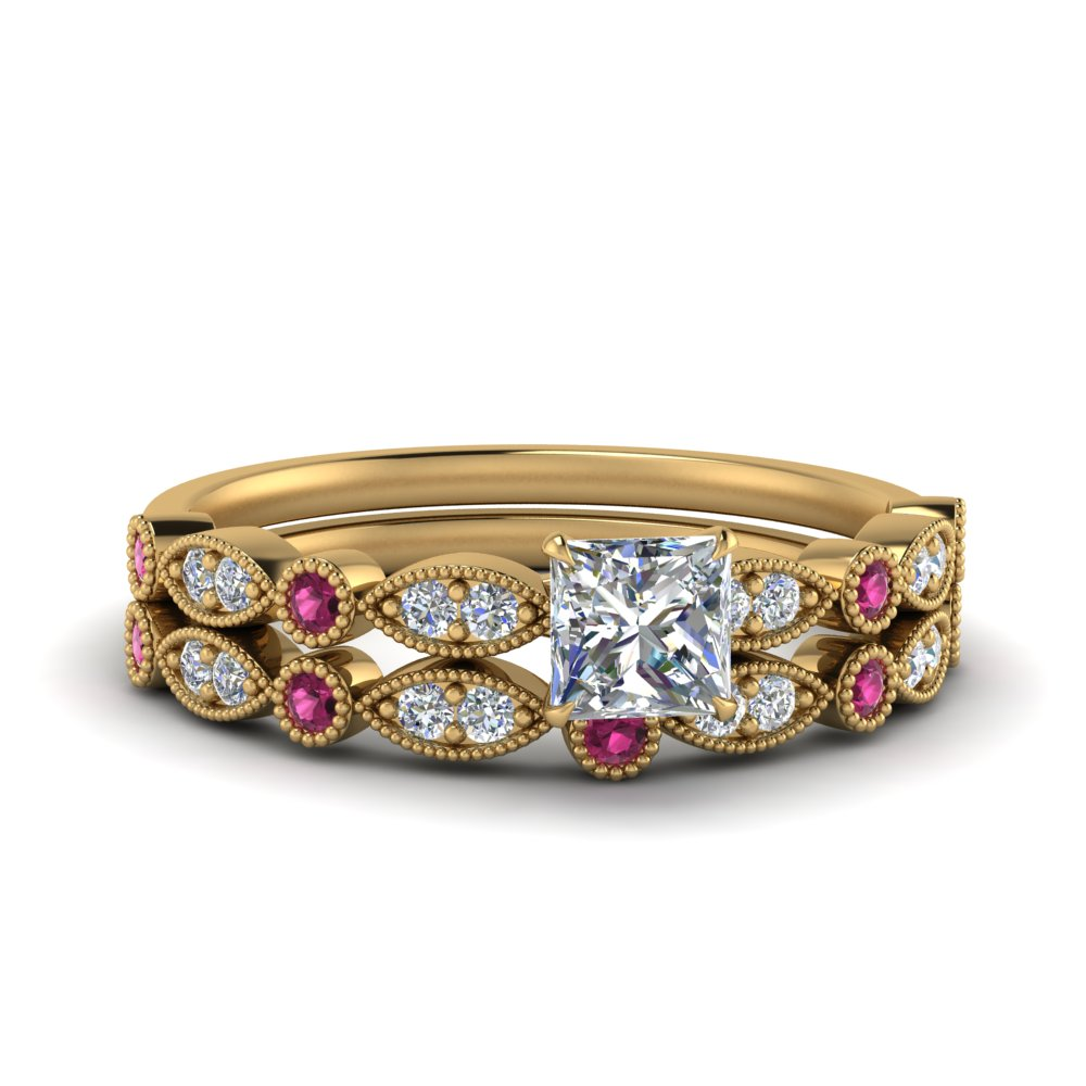 marquise-and-dot-milgrain-princess-cut-moissanite bridal-ring-set-with-pink-sapphire-in-FD8641PRGSADRPI-NL-YG