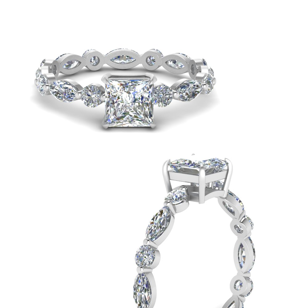 marquise-and-round-eternity-princess-cut-diamond-engagement-ring-in-FDEWB9398PRRANGLE3-NL-WG