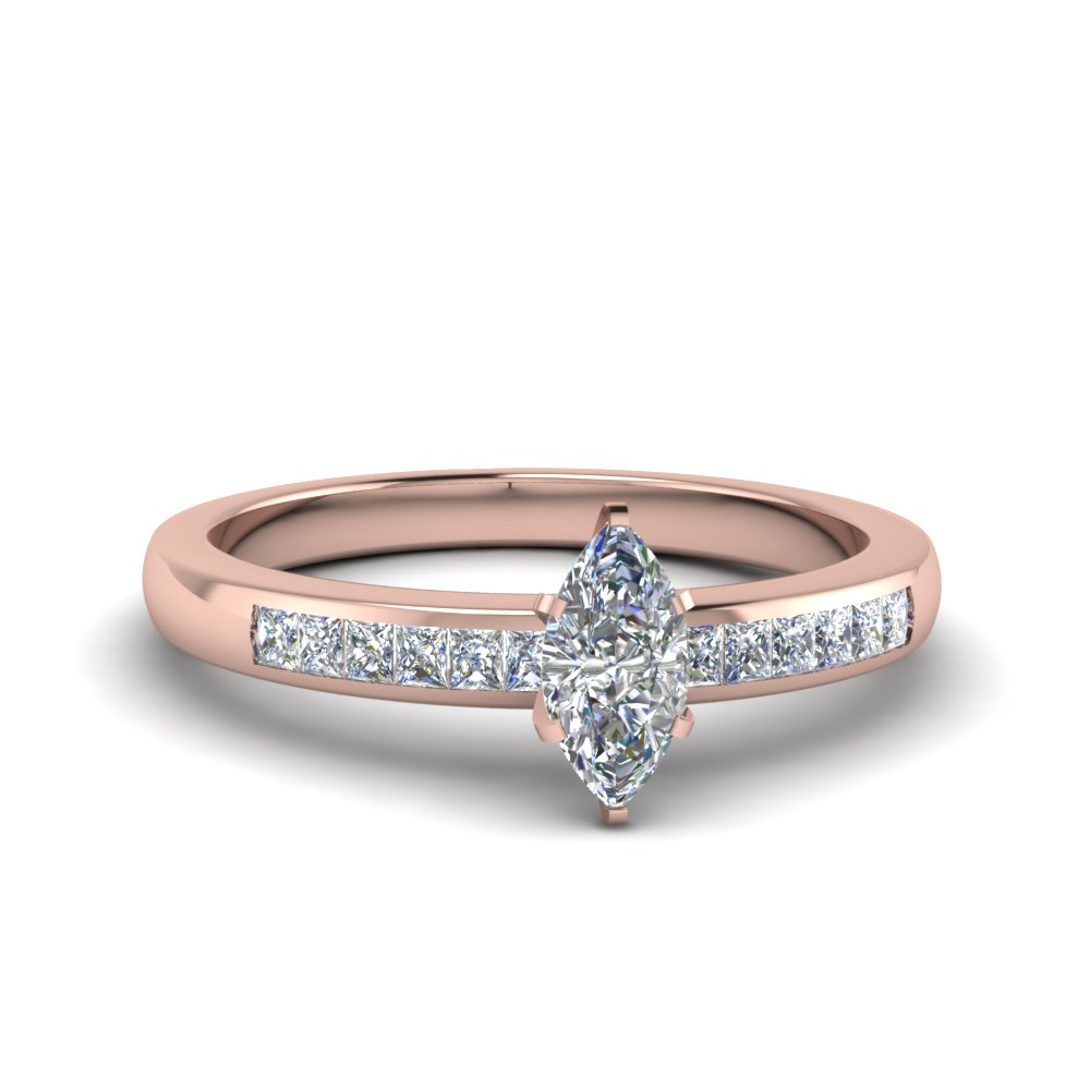 Marquise Shaped Moissanite Side Stone Rings