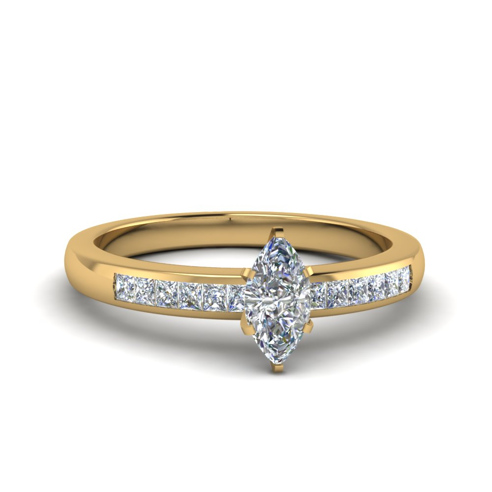 marquise channel princess cut diamond enagagement ring in FDENS3016MQR NL YG