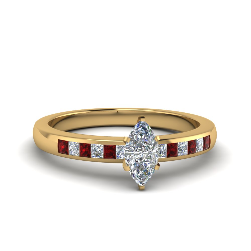 Channel Princess Cut Ruby Ring