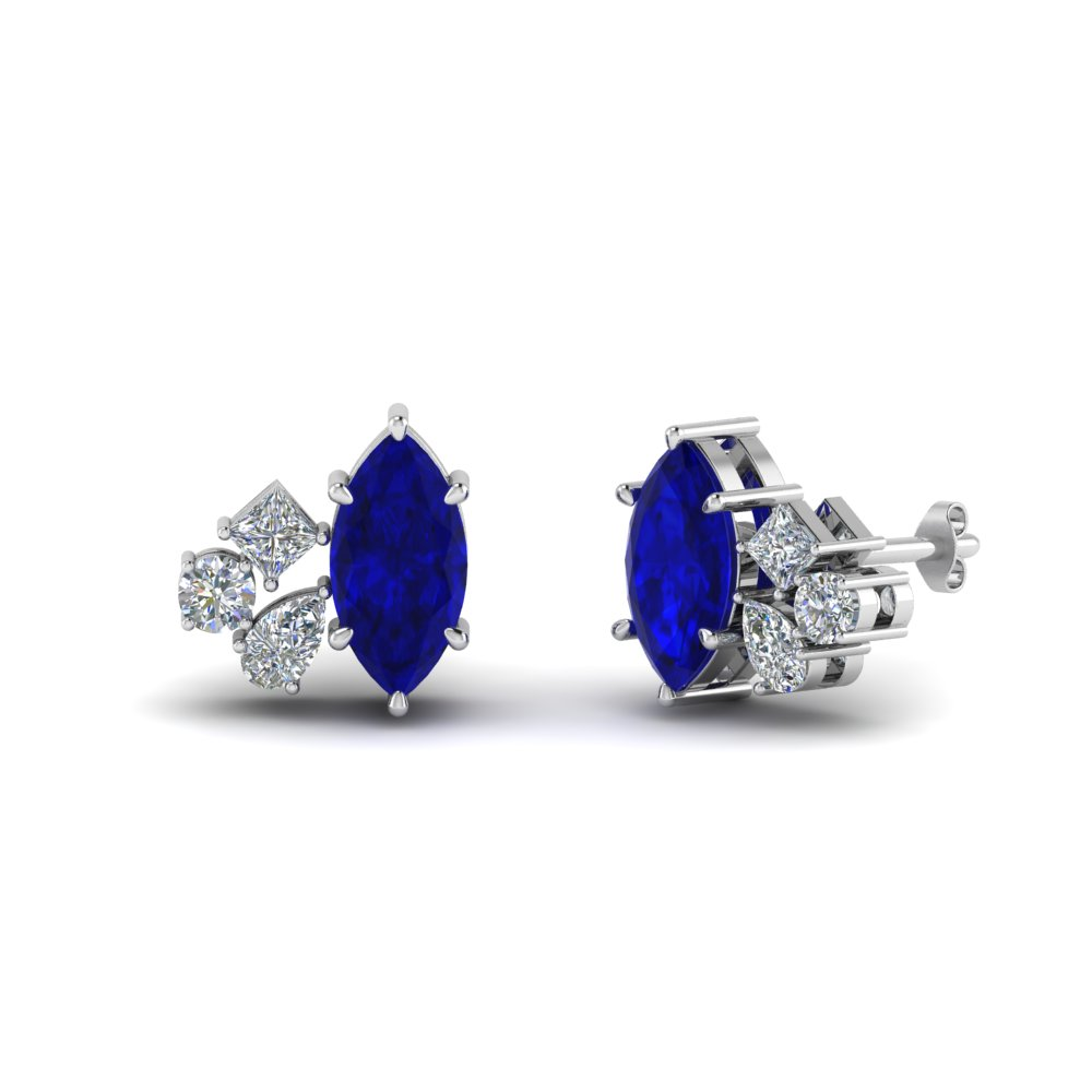 b24191249 Marquise Cluster Diamond Earring With Sapphire In 14K White Gold ...