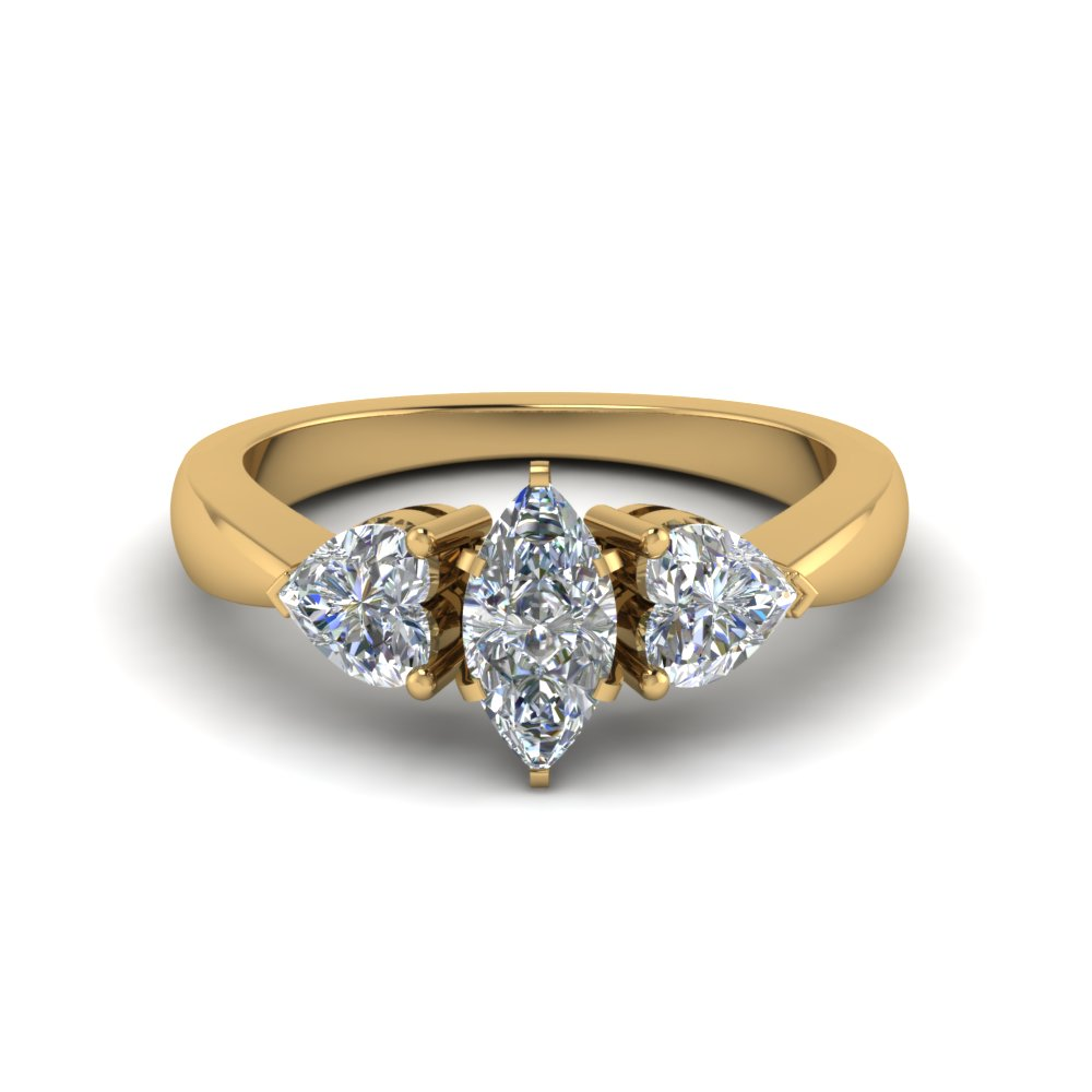 3 moissanite marquise cut engagement ring in FD8029MQRANGLE1 NL YG