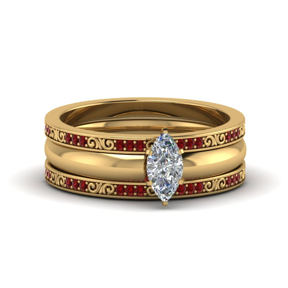 Trio Wedding Ring Sets With Ruby
