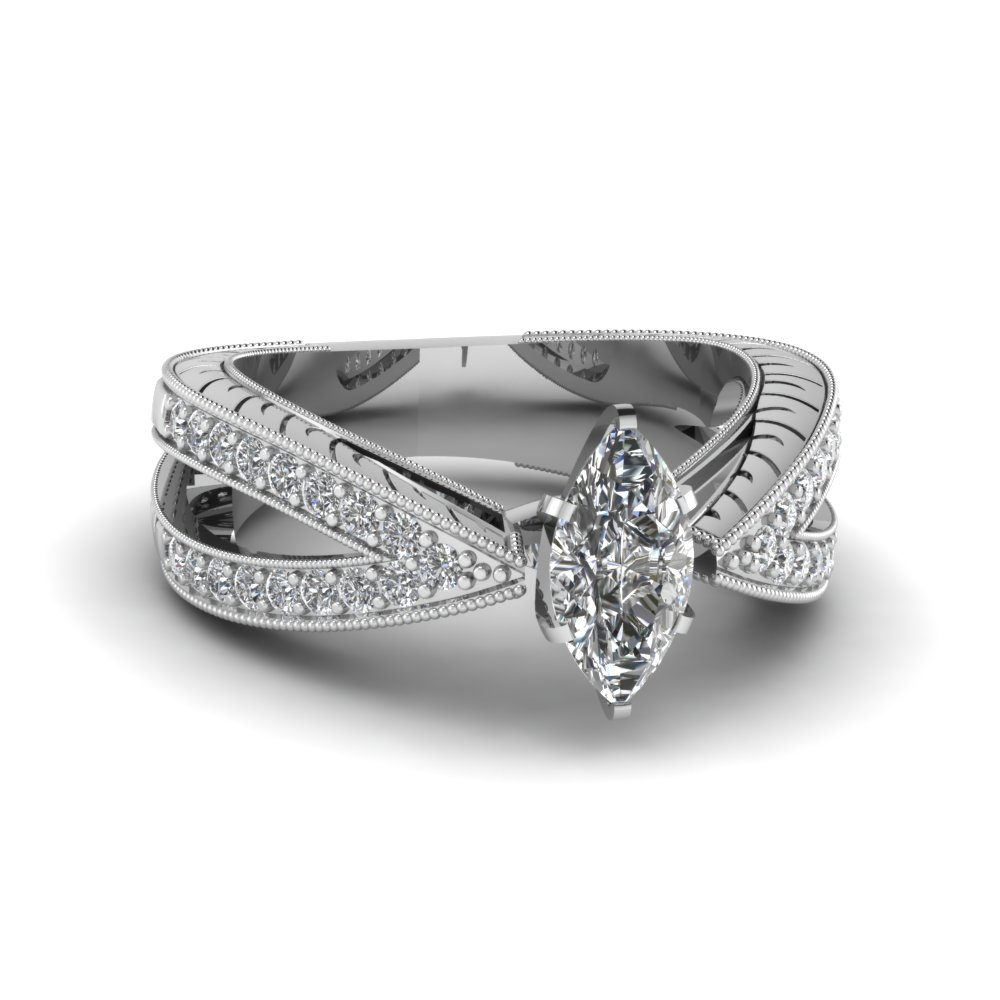 Split Style Marquise Vintage Engagement Ring