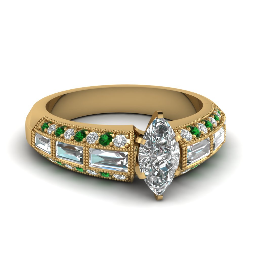 Antique Baguette Emerald Engagement Ring