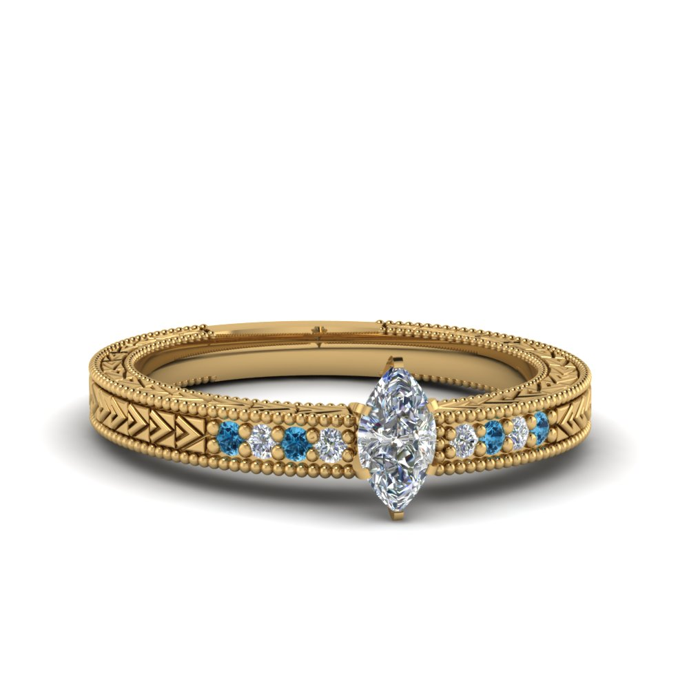 marquise cut antique design pave diamond engagement ring with ice blue topaz in FDENS3033MQRGICBLTO NL YG