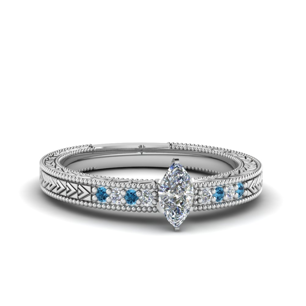 marquise cut antique design pave diamond engagement ring with ice blue topaz in FDENS3033MQRGICBLTO NL WG