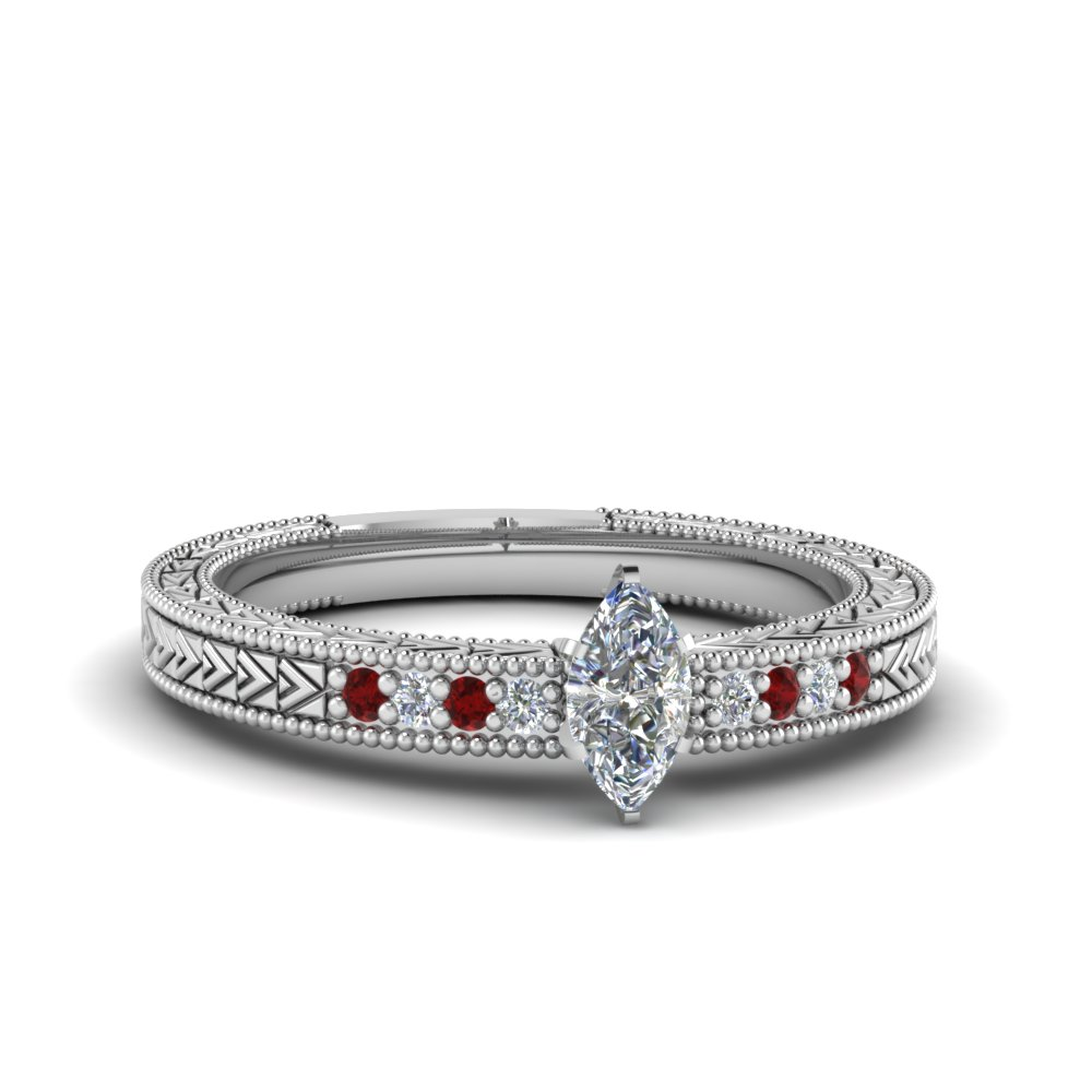 marquise cut antique design pave diamond engagement ring with ruby in FDENS3033MQRGRUDR NL WG