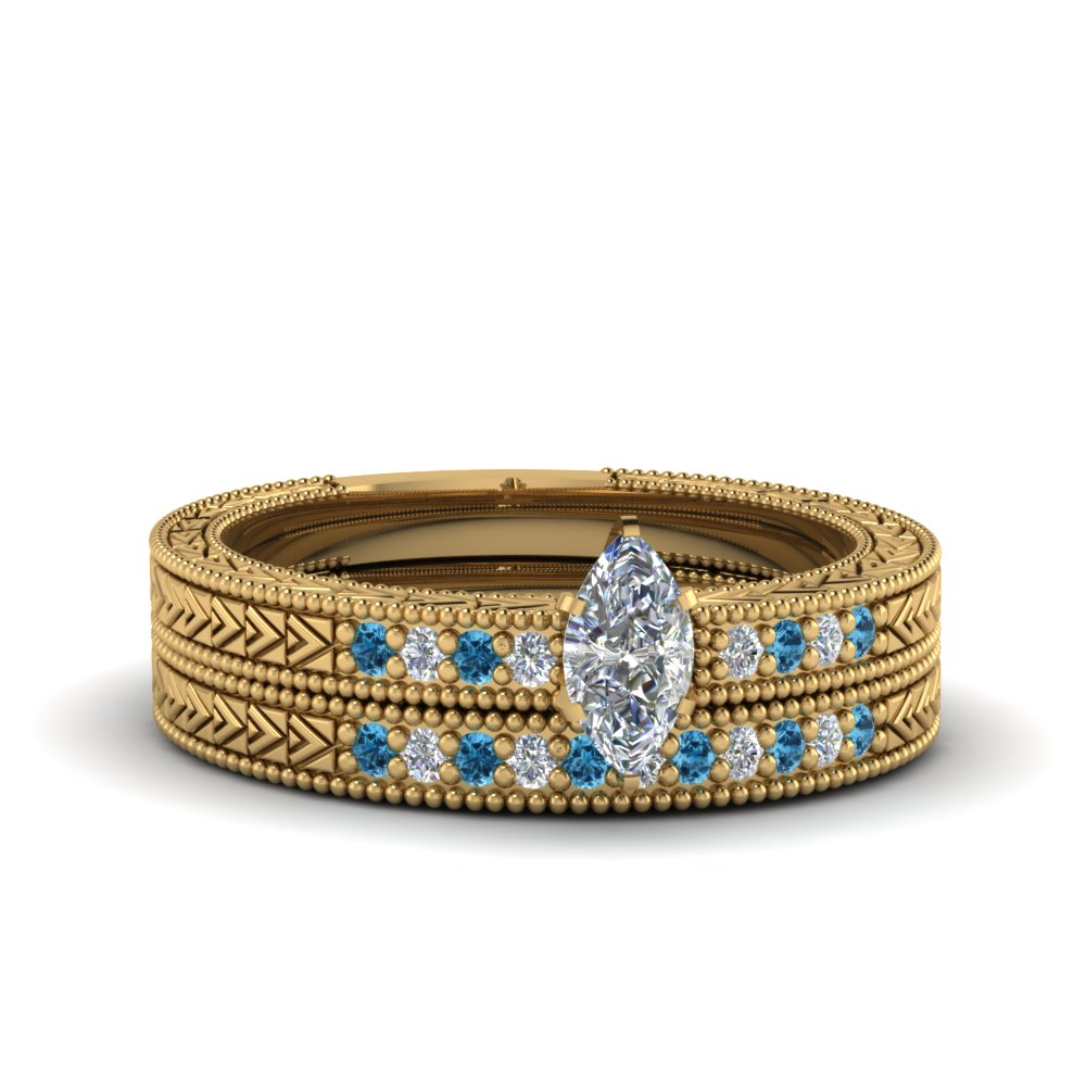 marquise cut antique design pave diamond wedding ring set with ice blue topaz in FDENS3033MQGICBLTO NL YG