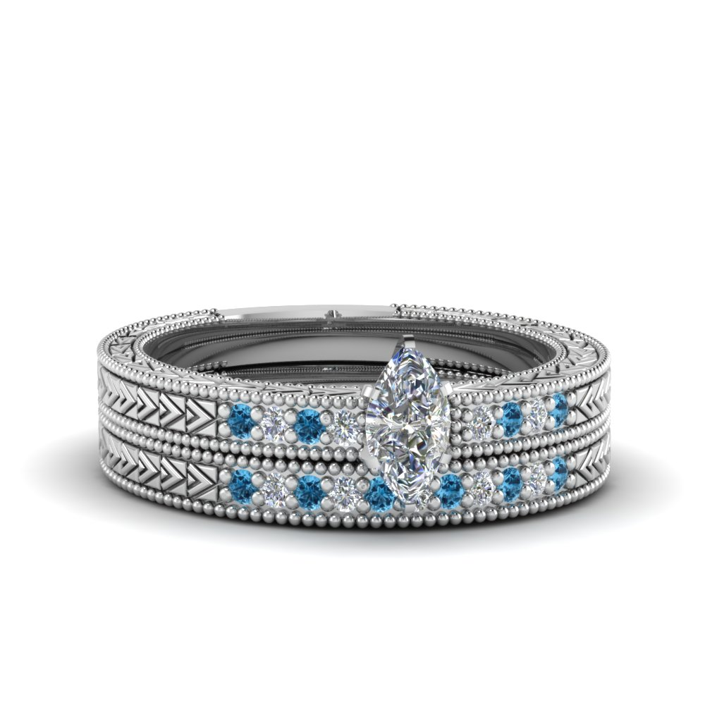 marquise cut antique design pave diamond wedding ring set with ice blue topaz in FDENS3033MQGICBLTO NL WG