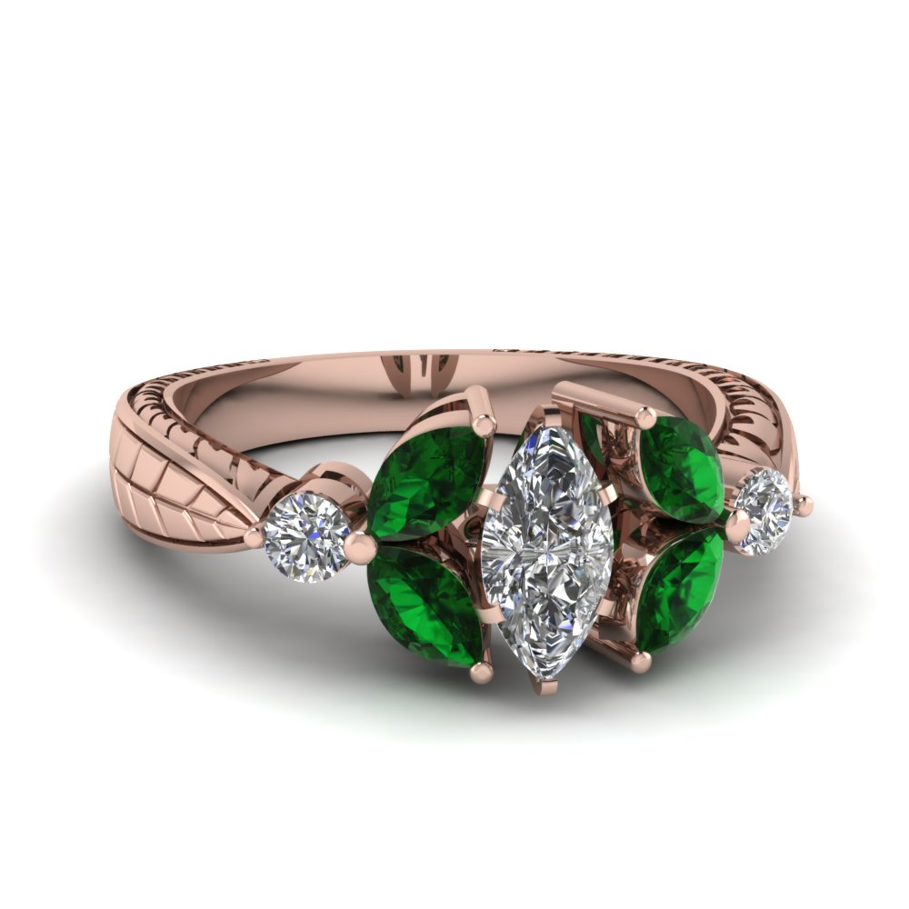 marquise cut antique petal diamond engagement ring with emerald in FDENR2562MQRGEMGR NL RG