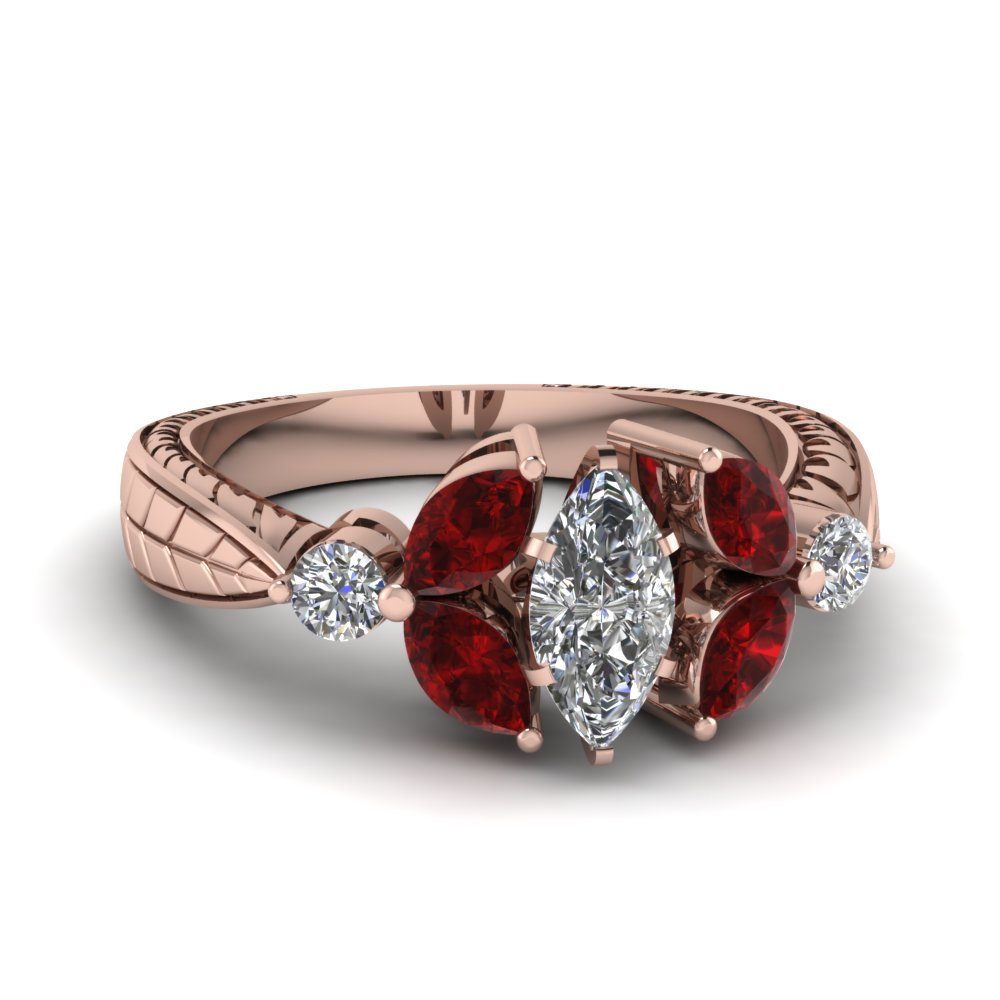 Marquise Cut Antique Petal Diamond Engagement Ring With Ruby In 18k