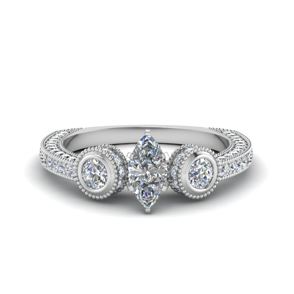 marquise cut antique looking pave diamond engagement ring in FDENR6182MQR NL WG.jpg
