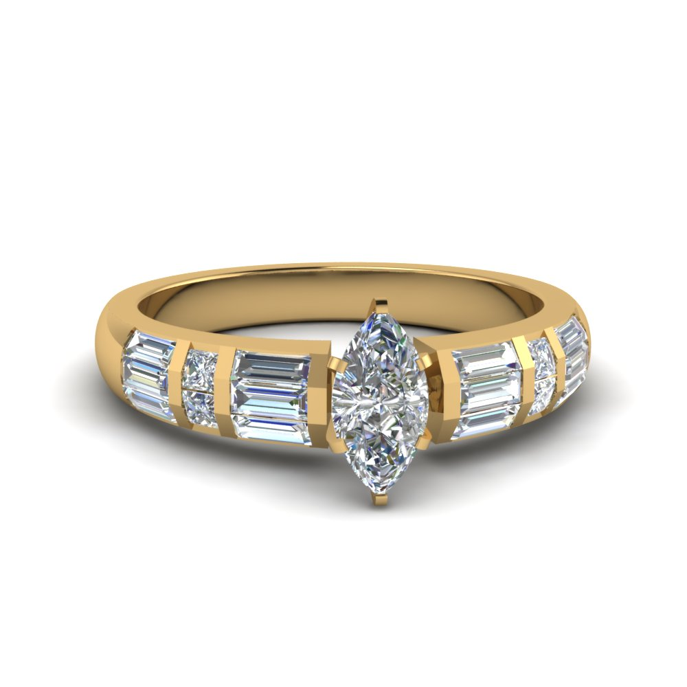 marquise cut baguette and princess diamond accent engagement ring in FDENR2615MQR NL YG