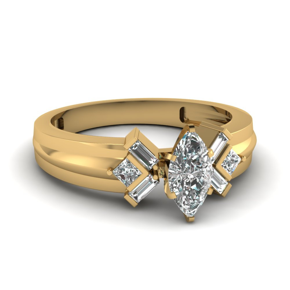 marquise cut baguette and princess diamond accents handmade ring jewelry in 14K yellow gold FD120699MQR NL YG