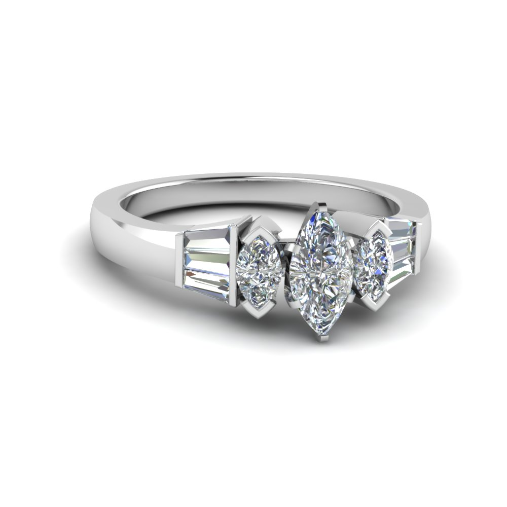 marquise cut baguette bar and marquise diamond engagement ring in 14K white gold FDENR1120MQR NL WG
