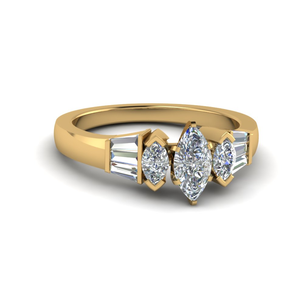 baguette bar and marquise diamond engagement ring in FDENR1120MQR NL YG
