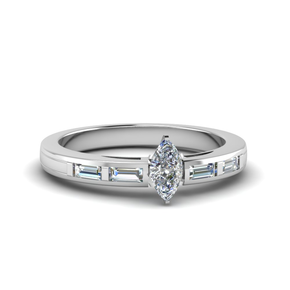 Bar Baguette Simple Diamond Ring