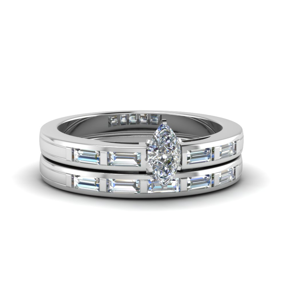 marquise cut bar baguette diamond simple wedding ring set in fdens218mq nl wg - Simple Wedding Ring Sets