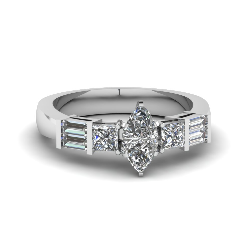 3/4 Carat Marquise Cut Engagement Rings