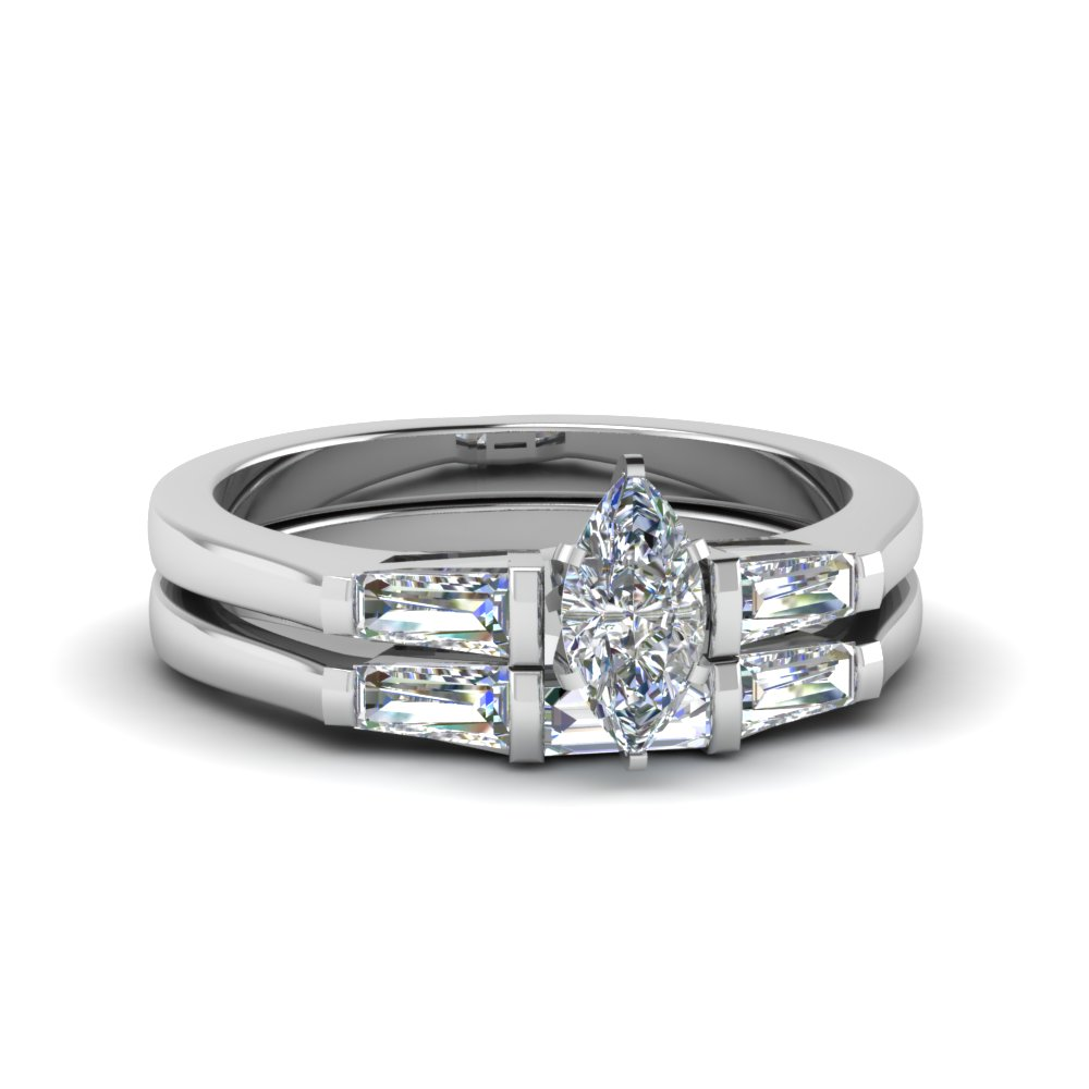 Marquise Cut Diamond Ring With Matching Band