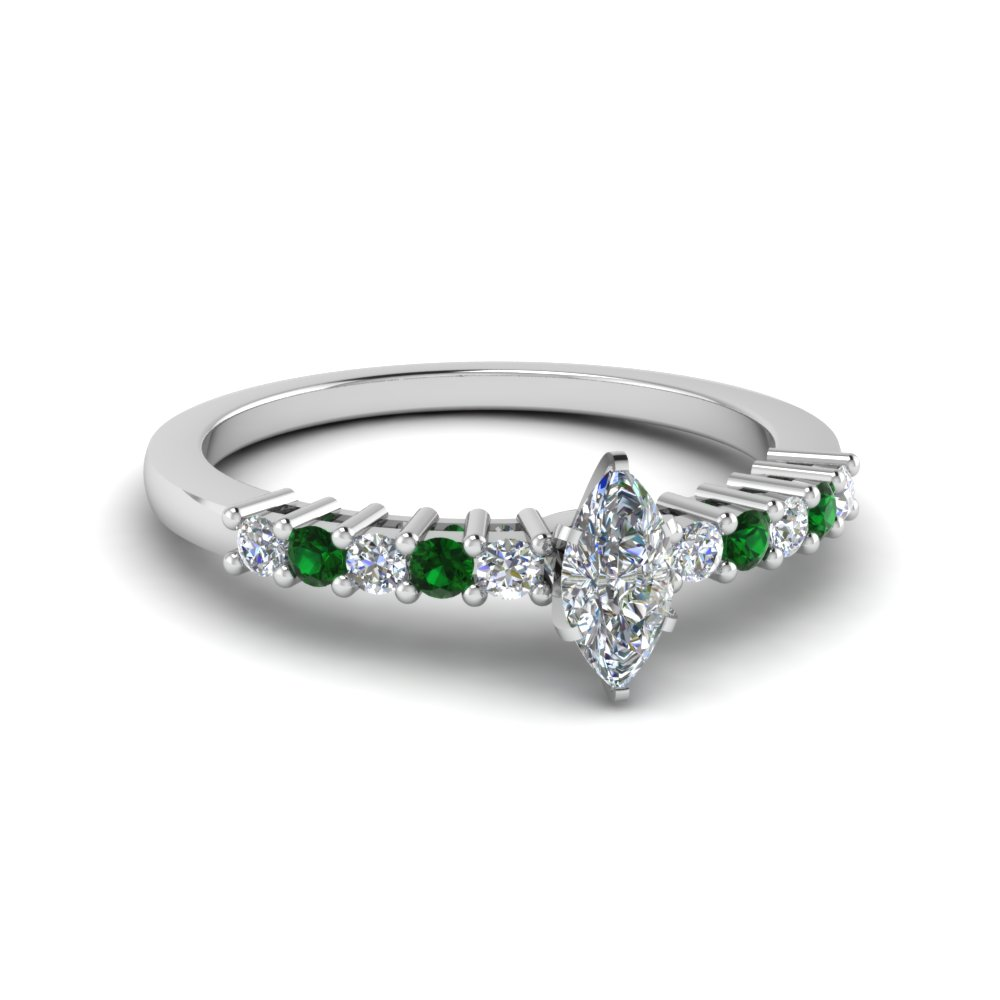 Emerald White Gold Petite Ring