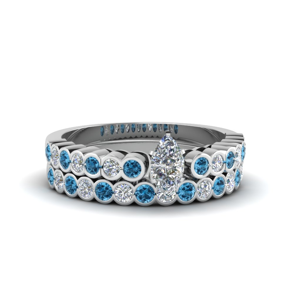 Bezel Blue Topaz Ring Set